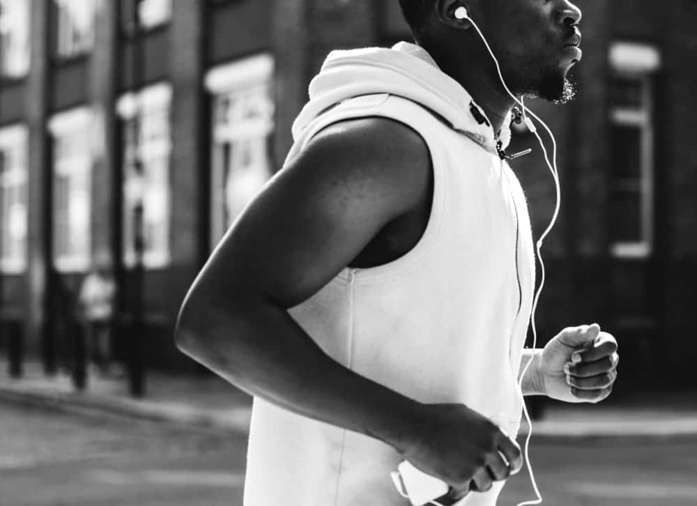 Black man jogging to lose weight