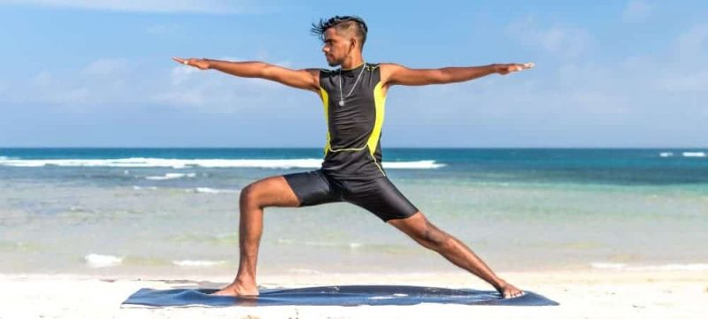 black man doing yoga breathing for the brain