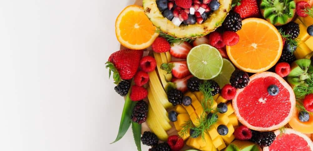 Bowl with fruits for a diet to build muscle