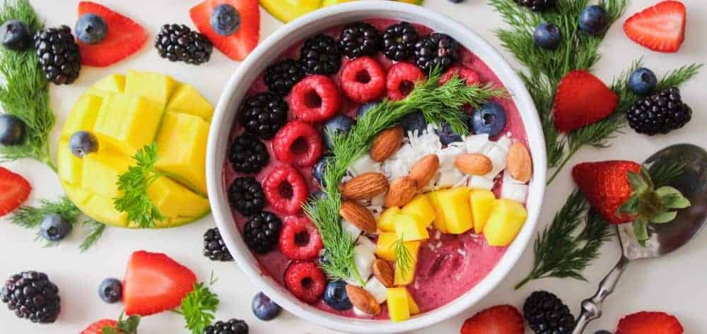 Protein curd fruit bowl for breakfast