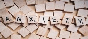 Anxiety spelled out in scrabble