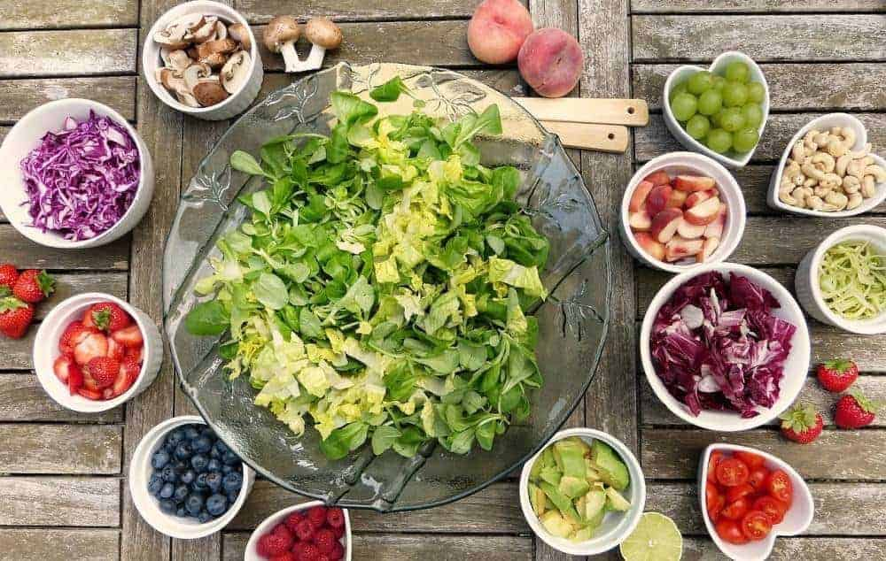 Fruits, nuts and salad for a healthy diet