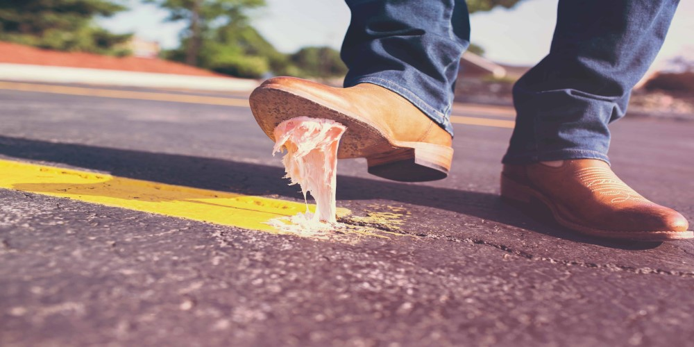 man stepping in gum, how to deal with failure