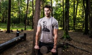 Man working out in the forest